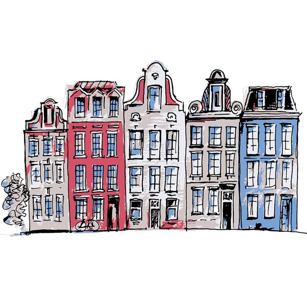 Hollandse vloeren huisjes lang de gracht in amsterdam